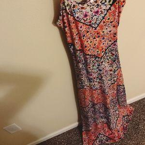 Xhilaration Dresses - Bright Angled Print Floral Cotton Maxi Dress